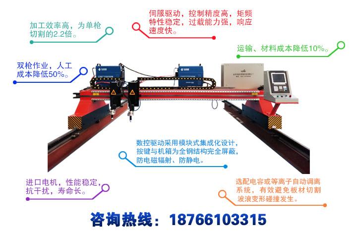 龙门式双等离子数控切割机产品特点